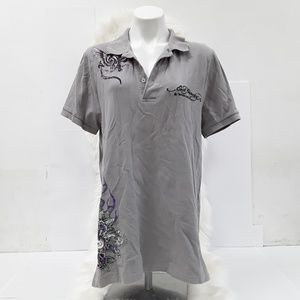 Ed Hardy embellished grey short sleeve polo sz L